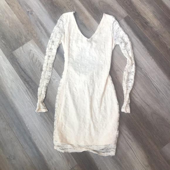 Cream lace overlay minidress